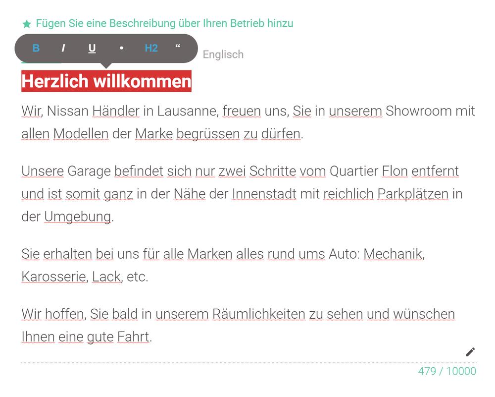 Description in german
